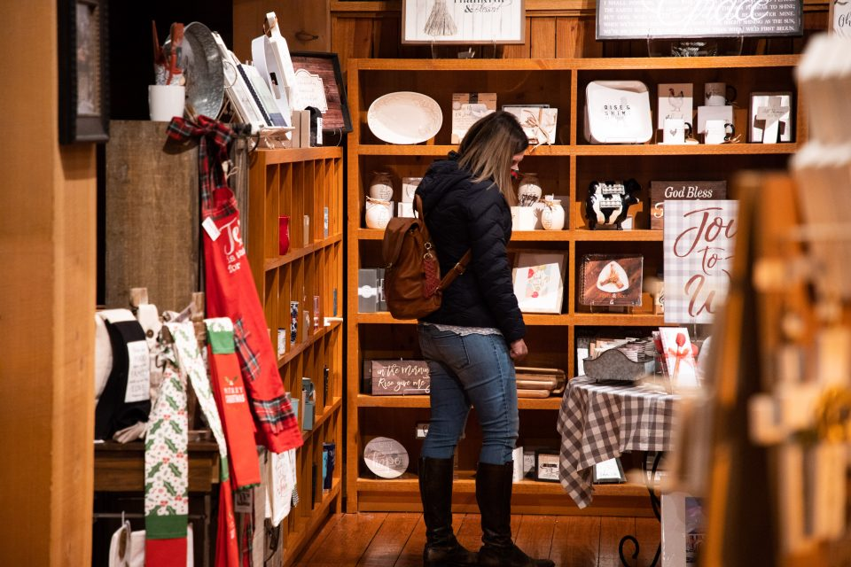 Woman shopping in Ruth's Attic bookstore