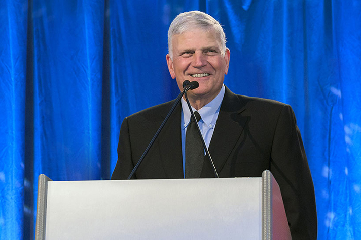 Franklin Graham behind podium