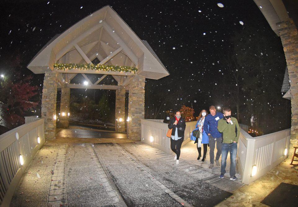 Attendees walking in snow