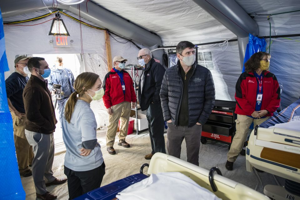 Will Graham and others inside Emergency Field Hospital