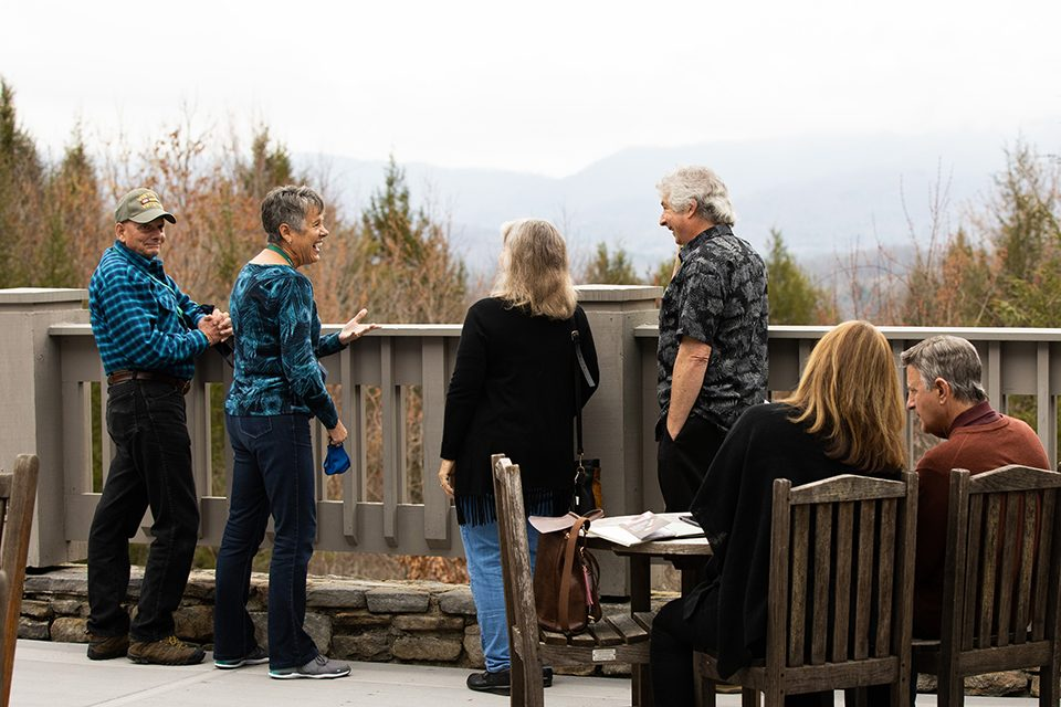 people on The Cove's patio