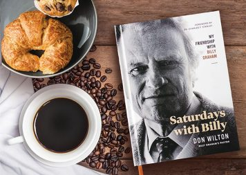 Saturdays With Billy book, cup of coffee, croissant, coffee beans