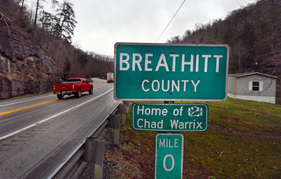 Breathitt County sign on the side of the road