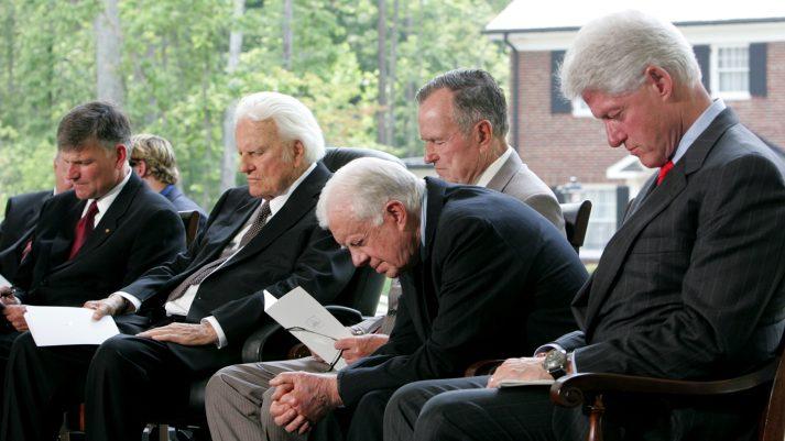 Billy Graham, Franklin Graham, presidents praying