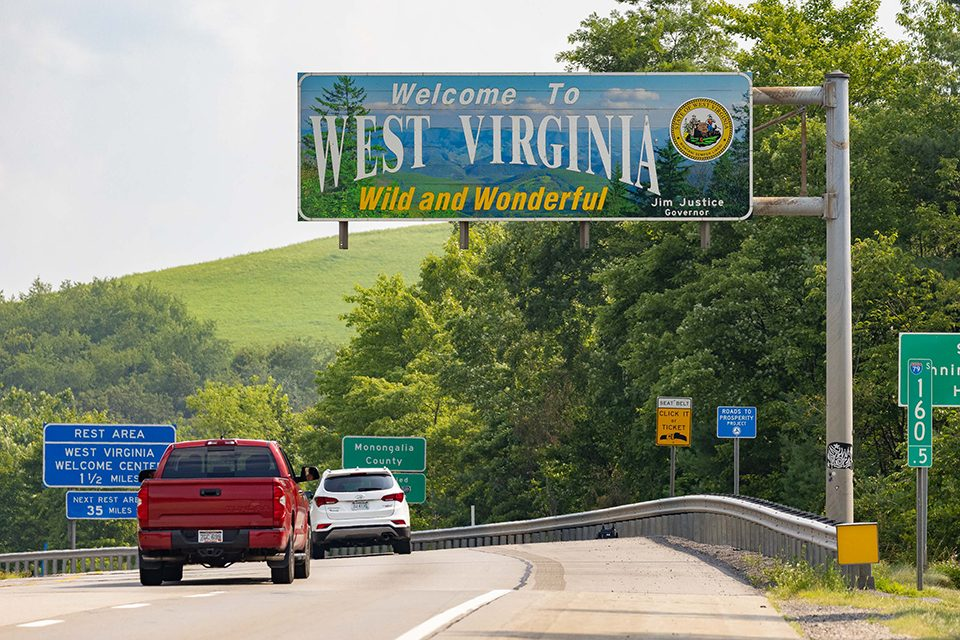 West Virginia state sign