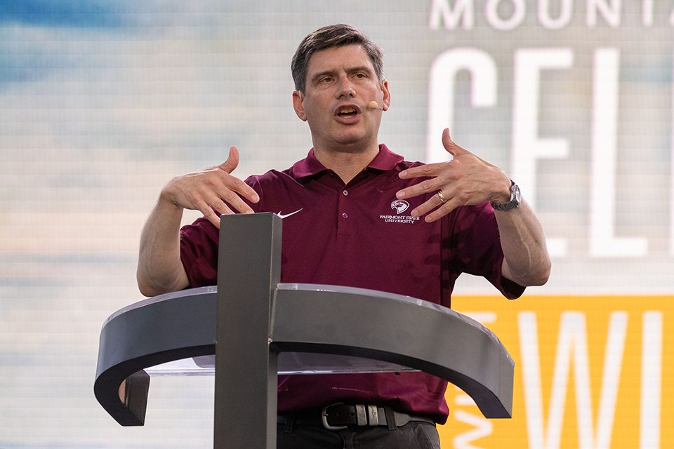 Will Graham speaking at the Mountain State Celebration