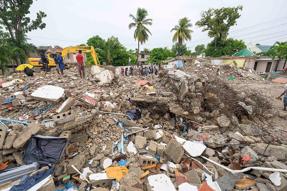 Destroyed buildings in Haiti