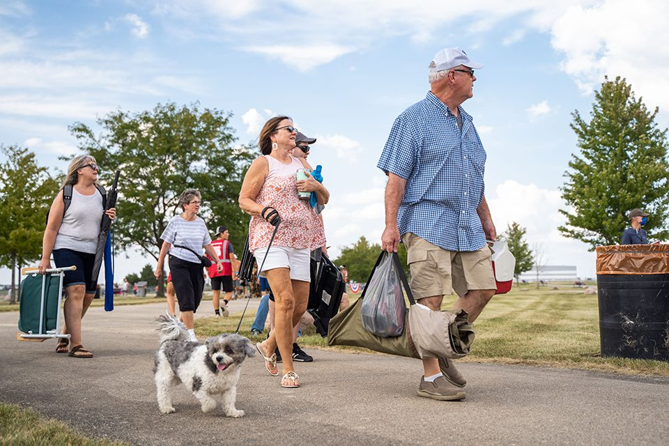 people and dog walking