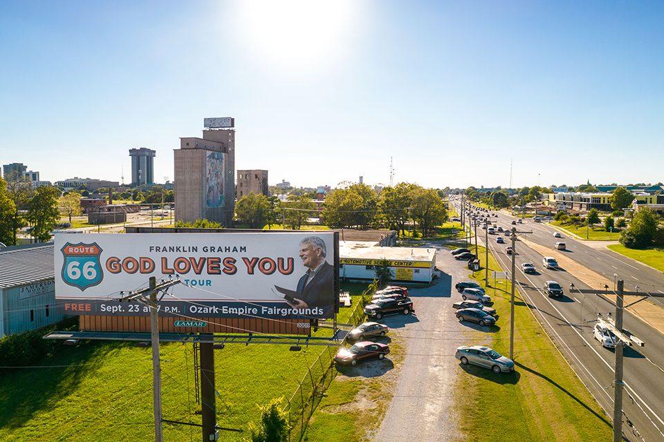 God Loves You Tour billboard