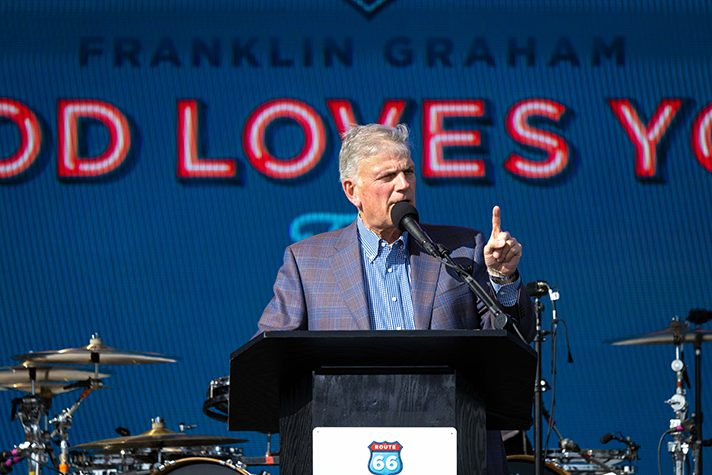 Franklin Graham in Amarillo, Texas, on Route 66 Tour