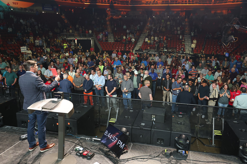 crowd in front of stage