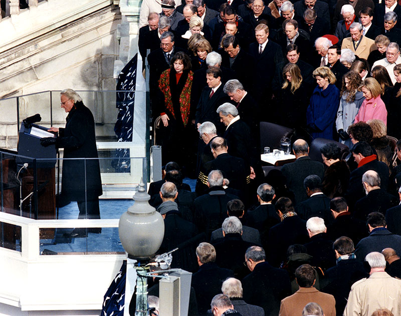 Full size image of Billy Graham delivering the invocation in 1997.