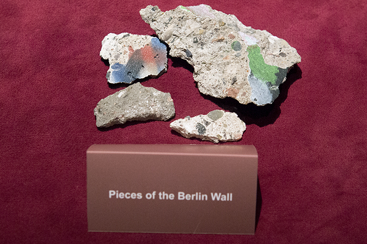 A piece of the Berlin Wall on display in the Billy Graham Library in Charlotte, N.C.