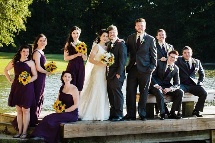 Blake and his new wife, Christina, pose with their groomsmen and bridesmaids at their Oct. 17 wedding. Photo courtesy of Katelyn McKay Photography.