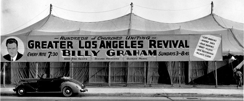 "74 2078a Two combined circus tents became the Los Angeles ""canvas cathederal""."