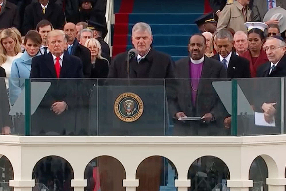 Full size image of Franklin Graham as he reads 1st Timothy at the inauguration in 2017.