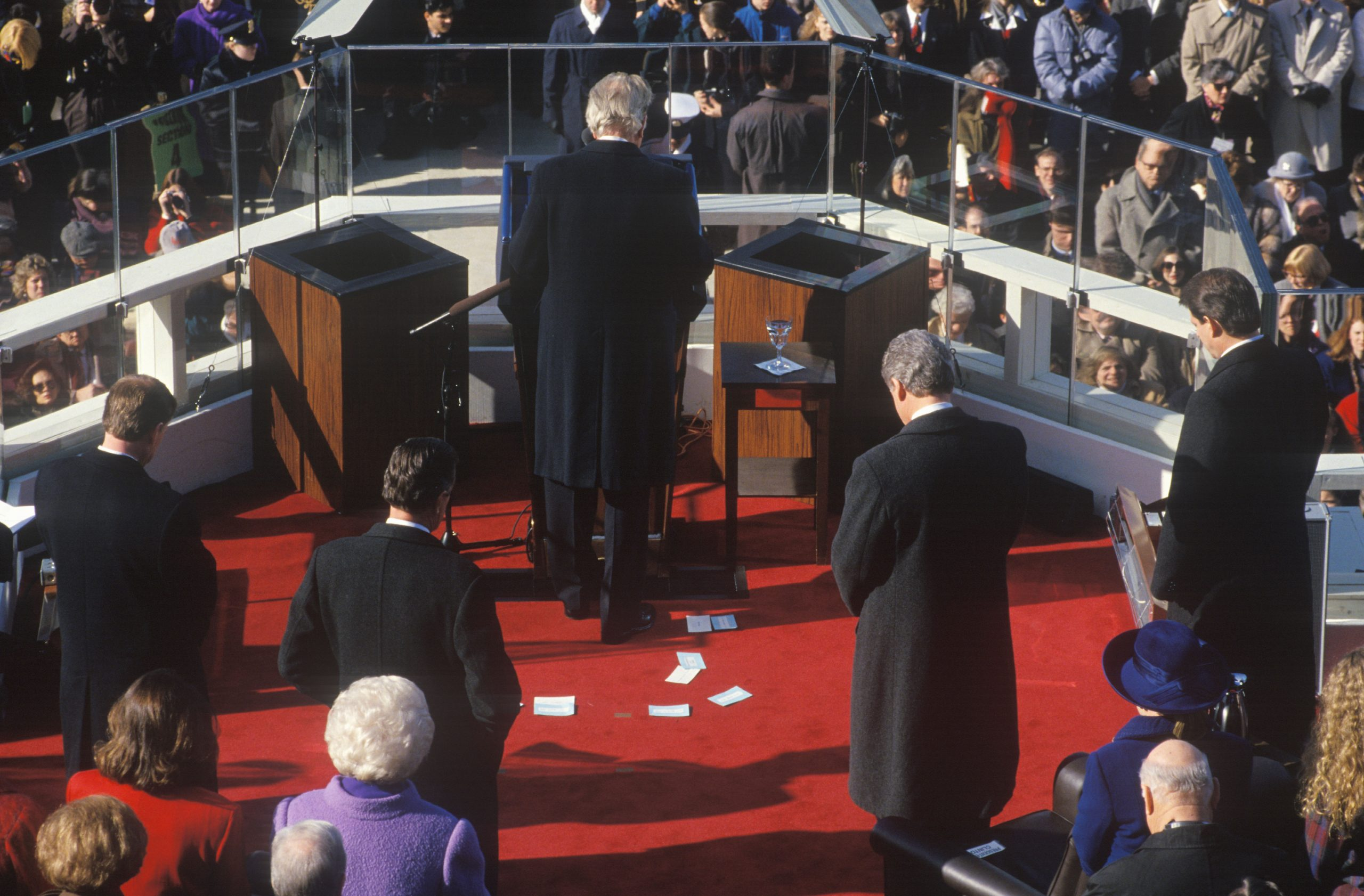 Full size image of Billy Graham delivering invocation in 1993.