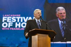 Sept. 21 – 23, 2018: Franklin Graham speaks to 9,000 during the Lancashire Festival of Hope at the Winter Gardens in Blackpool, England.