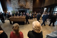 Feb. 24, 2018: The casket of Billy Graham arrives in Charlotte after being transported from the Billy Graham Training Center at The Cove in Asheville. Upon arrival, members of Graham's family accompanied the casket to the Billy Graham Library for a private family viewing.
