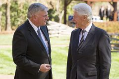 Feb. 27, 2018: Former President Bill Clinton attends the lie in repose of Billy Graham in Charlotte, visiting with Franklin Graham at the Graham Family Homeplace.