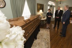 Feb. 26, 2018: Former President George W. Bush and Laura Bush attend the lie in repose of Billy Graham in Charlotte, after a special visit with Franklin and Jane Graham at the Graham Family Homeplace.