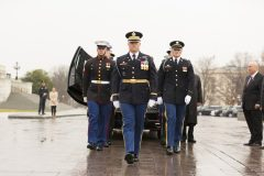 March 1, 2018: A joint military honor guard stands at attention after the casket of Billy Graham leaves the U.S. Capitol. Graham is only the fourth private citizen—and the first religious leader—to be given the distinction of a public lie in honor.
