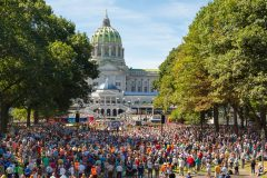Harrisburg, Pennsylvania: Stop #44—Some 7,200 Pennsylvanians gathered at the Capitol at Soldiers & Sailors Grove in Harrisburg on Sept. 15, 2016, as part of the Decision America Tour.