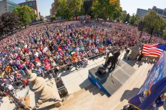 Lansing, Michigan: Stop #45—Some 8,100 Michigan residents gathered at the Capitol East Steps in Lansing on Oct. 4, 2016, as part of the Decision America Tour.