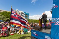 Honolulu, Hawaii: Stop #7 – Some 2,100 Hawaii residents gathered capitol's front lawn in Honolulu on Feb. 24, 2016, as part of the Decision America Tour.