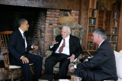 President Obama visits with Billy Graham and his son Franklin at Billy's home in North Carolina on April 25, 2010.