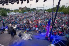 Aug. 12, 2018: Franklin Graham encourages more than 7,000 people gathered at Cheney Stadium in Tacoma, Washington, to pray for the country and their communities.