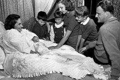 """The Graham family in 1958, left to right: Ruth, Nelson Edmond """"Ned,"""" William """"Franklin"""" III, Ruth Bell, Virginia Leftwich """"Gigi,"""" Anne Morrow, Billy."""