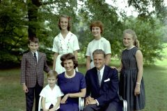 "The Graham family in 1962. Front row, left to right: Nelson Edmond ""Ned,"" Ruth, Billy. Back row, left to right: William ""Franklin"" III, Virginia Leftwich ""Gigi,"" Anne Morrow, Ruth Bell."