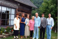 "Billy and Ruth Graham celebrate their 50th wedding anniversary in 1993 with their five children at their home in North Carolina. Left to right: Virginia ""Gigi"" Graham, Anne Graham Lotz, Ruth Graham (daughter), Ruth Graham (wife), Billy Graham, Franklin Graham and Ned Graham."