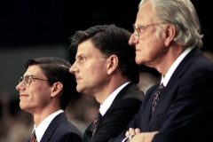 "Three generations stand together at a 1994 Crusade: William Franklin ""Will"" IV, William ""Franklin"" III and William ""Billy"" Franklin Graham Jr."
