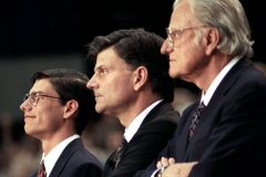 """Three generations stand together at a 1994 Crusade: William Franklin """"Will"""" IV, William """"Franklin"""" III and William """"Billy"""" Franklin Graham Jr."""