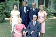 Billy Graham (standing, second from left) in 1962 with his siblings, Catherine, Melvin and Jean (standing, left to right), and parents, Morrow and Frank Graham (seated).