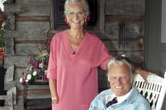 Ruth and Billy Graham celebrate their 50th wedding anniversary in 1993.