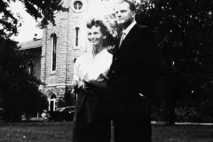 In 1940, Billy Graham enrolls at Wheaton College, where he meets Ruth McCue Bell, a fellow student and daughter of medical missionaries. (This photo was taken shortly after their engagement in 1941.)