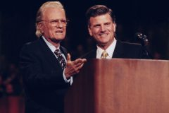 Billy Graham with Franklin Graham in Ottawa, Ontario, 1998.