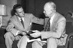 Billy Graham provided spiritual counsel to 12 sitting U.S. presidents—including Dwight D. Eisenhower, pictured here.