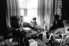 Billy Graham provided spiritual counsel to every sitting president from Harry Truman—pictured here at Truman's home in Independence, Missouri, in 1967—to Barack Obama.