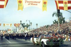 In 1971, Billy Graham serves as Marshal of the Rose Bowl Parade in Pasadena, California.