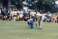 Bob Hope (right) helps Billy Graham line up his putt during a Byron Nelson Golf Classic event in 1971.