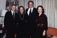 Billy and Ruth Graham (center) meet with President Jimmy Carter and his wife, Rosalynn, at the White House in November 1979.