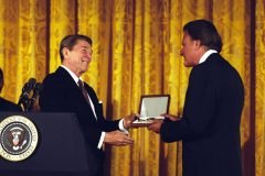 "President Ronald Reagan presents the Presidential Medal of Freedom (the highest award the president can bestow on a private citizen) to Billy Graham on Feb. 23, 1983, for his ""exceptional contributions to the United States on behalf of world peace."""
