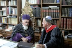 "Billy Graham meets with Chief Rabbi Moses Rosen in Romania in 1985. Rosen said Graham was ""a bridge-builder between nations and people."""