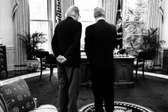 Billy Graham visits President Bill Clinton in the Oval Office (1996). Photo courtesy of the White House.