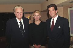 "Caroline Bessette Kennedy and John F. Kennedy Jr. interview Billy Graham in 1996 for Kennedy's magazine, ""George."""