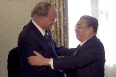 Billy Graham greets President Kim Il Sung during his second trip to the Democratic People's Republic of Korea in 1994.